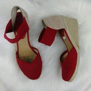 Ralph Lauren Red Wedges Burlap Nylon Ankle Strap